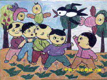儿童画 李果鸣/老鹰捉小鸡儿童画属于水彩画,作品长338px,宽450px,作者李...