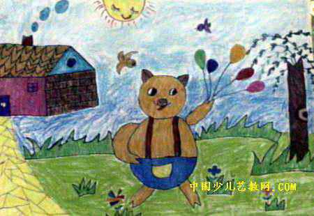 儿童水彩画 >> 快乐的小猪儿童画2幅   快乐的小猪儿童画属于水彩画