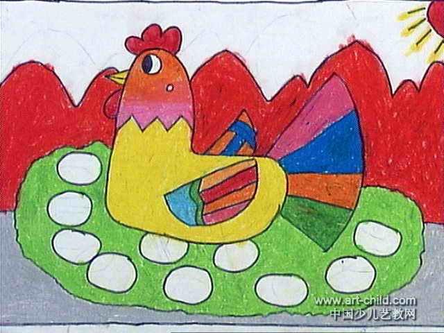 母鸡下蛋儿童画3幅