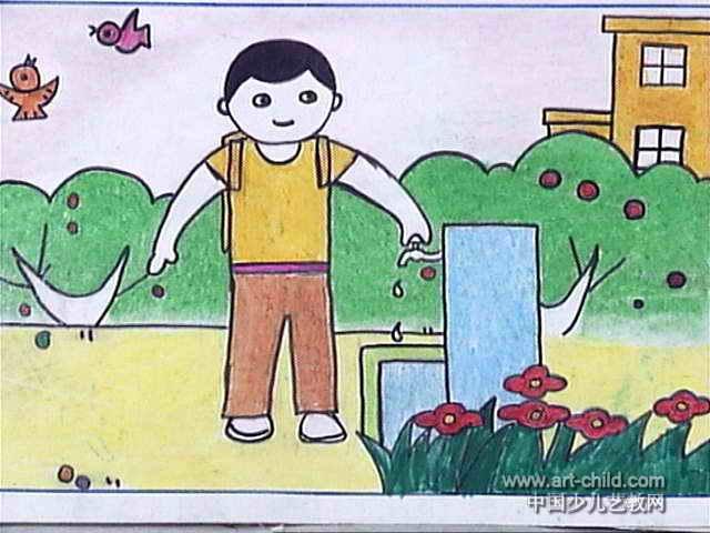 节约用水超级简单的画【相关词_ 节约用水简笔画大全】图片