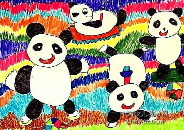 玩杂技的大熊猫儿童画图片