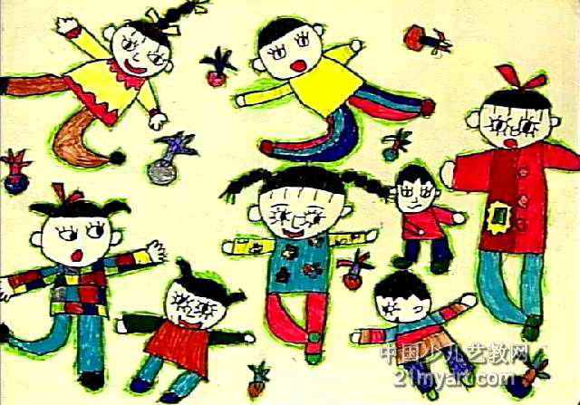 踢毽子儿童画2幅
