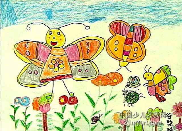小蜜蜂采蜜忙儿童水彩画