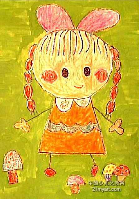 采蘑菇的小姑娘儿童水彩画
