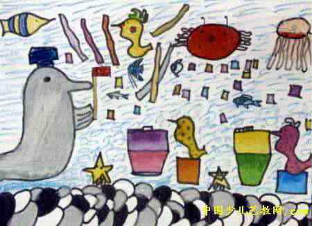 简笔画 儿童画 儿童水彩画 >> 海底生物赛儿童画   海底生物赛儿童画