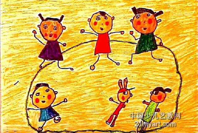 练跑步迎奥运儿童画