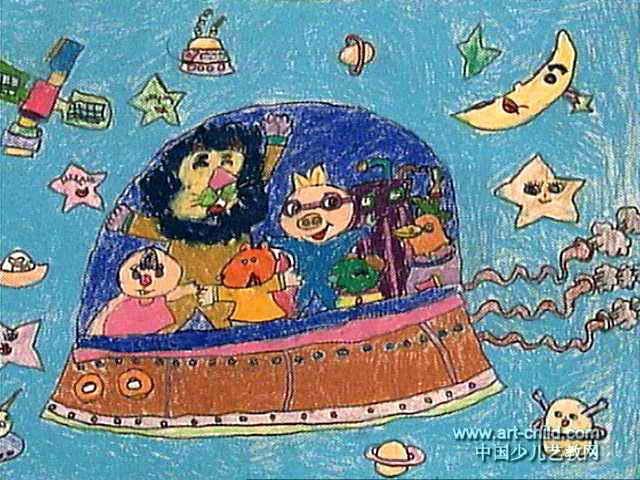 遨游太空儿童画7幅(第4张)图片