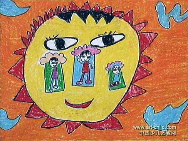 我在太阳上睡觉儿童画图片