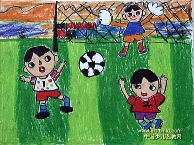 足球少年儿童画图片