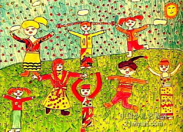 节日的舞蹈儿童画作品欣赏