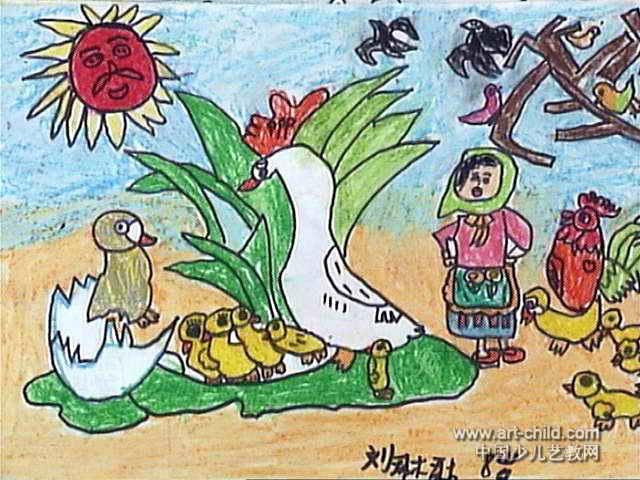 丑小鸭儿童画图片