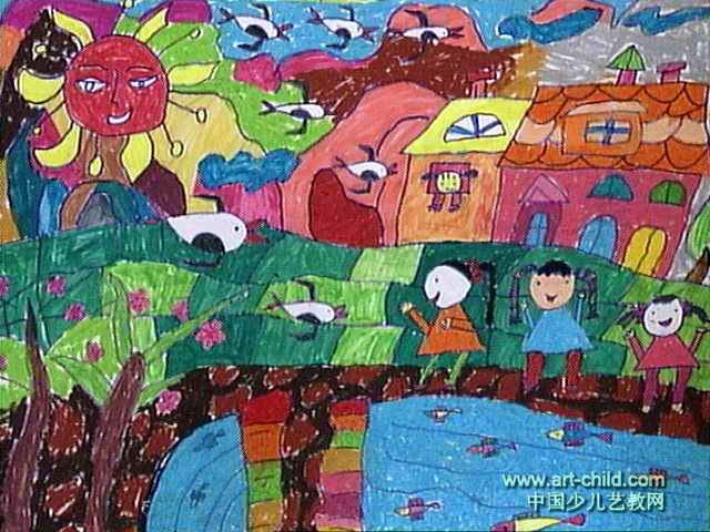彩色春天儿童画图片