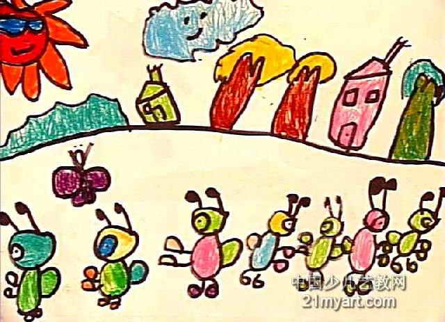 蚂蚁士兵儿童画作品欣赏