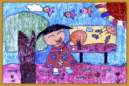 儿童油画棒简笔画_我爱画画儿童画2幅
