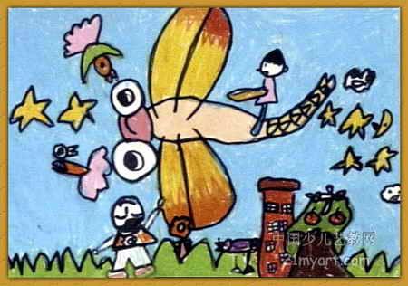 骑着蜻蜓上蓝天儿童画