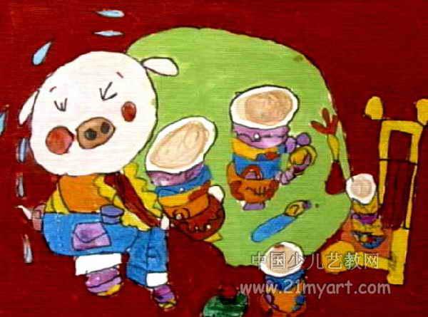 能干的小猪儿童画