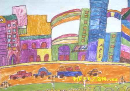 可爱的家乡儿童画2幅