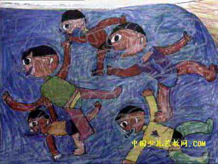 游泳比赛儿童画3幅
