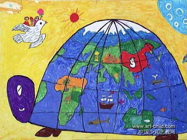 我爱和平儿童画4幅
