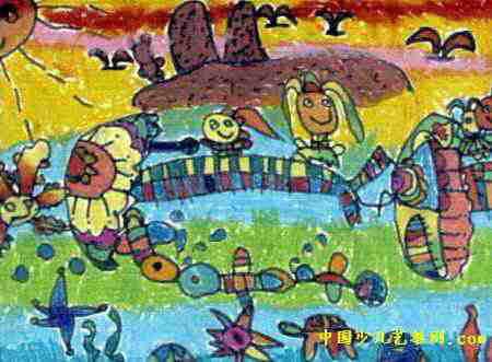 小伞带我去旅行儿童画