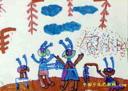 儿童画 结婚 包小涵/蚂蚁结婚儿童画属于水彩画,长319px,宽450px,作者包小涵,...