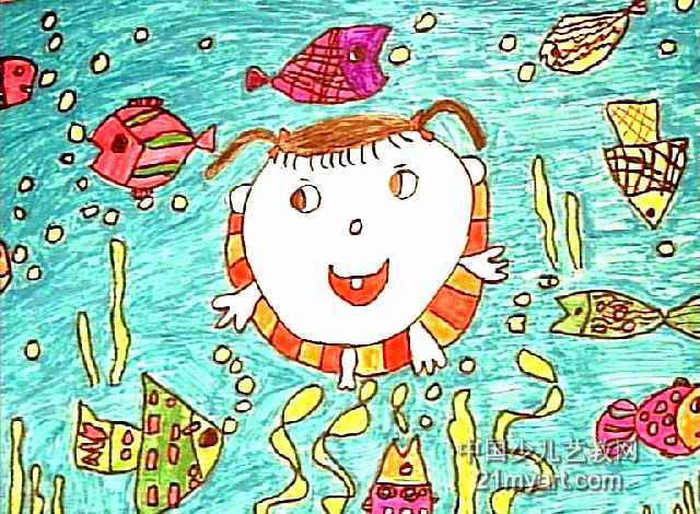 彩色春天儿童画图片 小乌龟太空吸尘器儿童