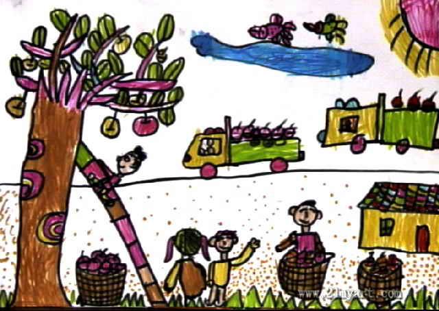 丰收的秋天儿童水彩画