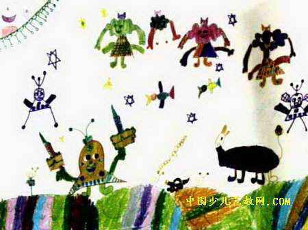 太阳公公笑眯眯儿童画