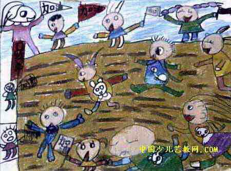 运动会上儿童画