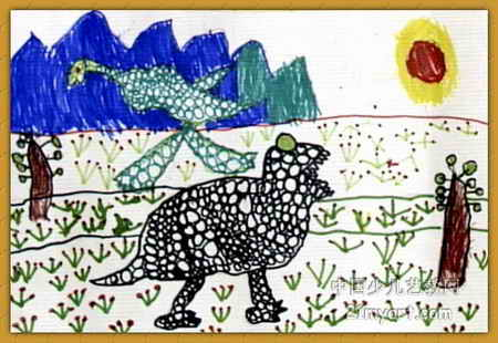 大恐龙来了儿童画