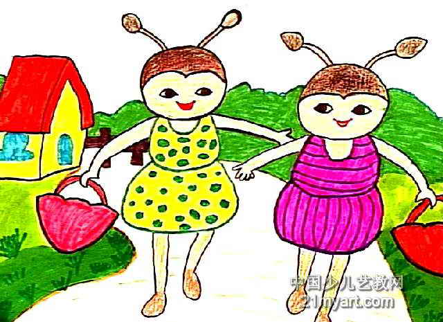 小蜜蜂去采蜜儿童画作品欣赏
