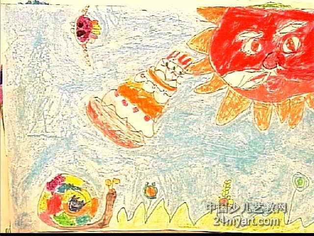 我给太阳公公过生日儿童画作品欣赏