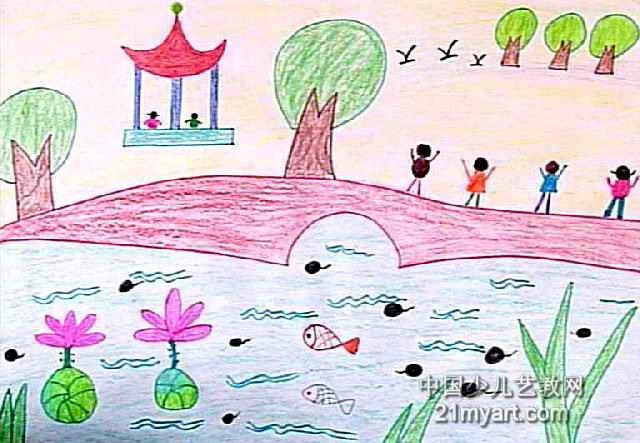 园林简笔画-公园儿童水彩画