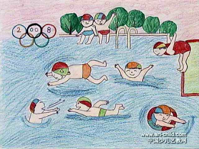 游泳儿童画3幅图片