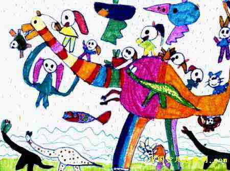 我和恐龙一起玩儿童画2幅