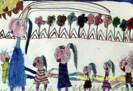 老鹰捉小鸡儿童画2幅