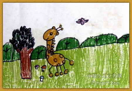 树叶 赵迪/长颈鹿吃树叶儿童水彩画,此幅水彩画尺寸为313x450像素,作者...