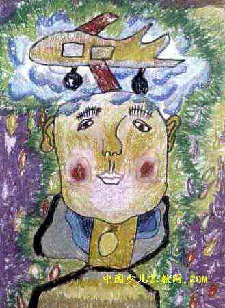 六一节快乐儿童画 头上顶飞机儿童画