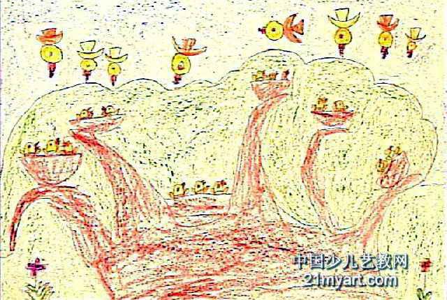 我的花帽儿童画 我的大家庭儿童画