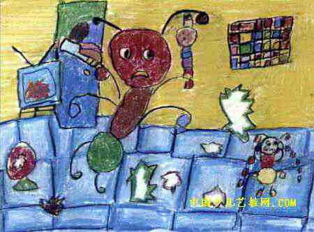 我是 儿童 蚂蚁/蚂蚁爸爸喝醉了儿童画,此幅水彩画尺寸为333x450像素,作者张...