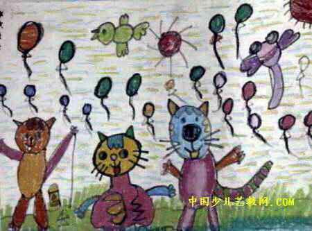 小猫放气球儿童画