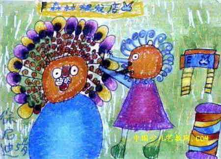 孔雀发型儿童画,这幅水彩画作品长324px