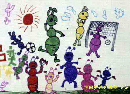 蚂蚁足球比赛儿童画图片