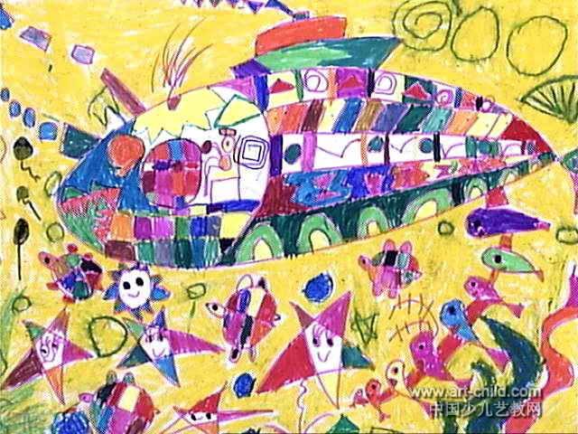 海洋保卫者儿童画属于油画棒画,大小为480x640像素,作者陈宜京,来自南