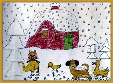雪地上的脚印儿童画属于水彩画,大小为331x450像素,作者赵丽君,来自