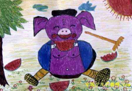 猪八戒吃西瓜儿童水彩画图片