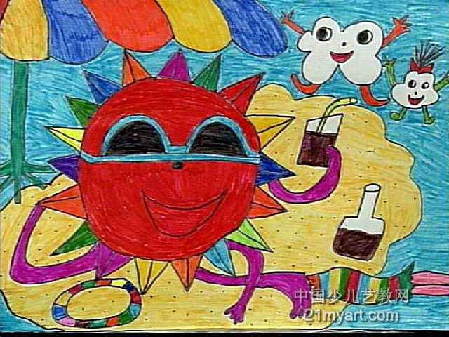 太阳在乘凉儿童画作品欣赏