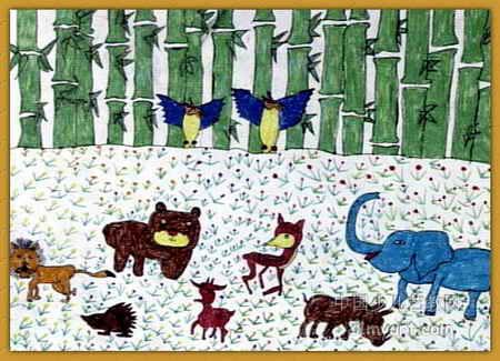 动物园儿童画6幅 第3张