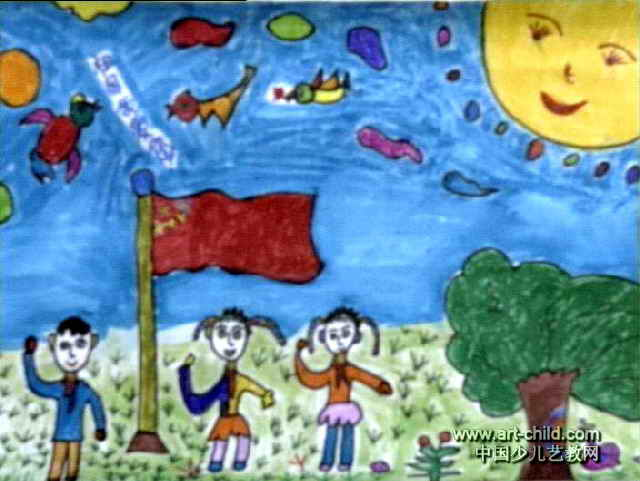 我爱祖国儿童画_祖国,祖国我爱您!儿童画作品