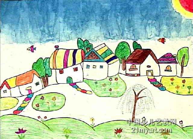家乡 风景儿童画作品欣赏高清图片